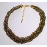 Braided Mesh Crystal Necklace with Lobster Claw clasp and 3 inch drop- Smoke