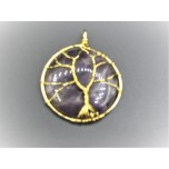 Tire of Life Wired on Round Gemstone Pendant - Amethyst