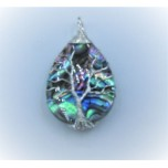 Abalone Teardrop Style With Tree Wire pendant - 1 inch