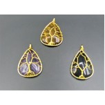 Tree of Life Wired on Teardrop Gemstone Pendant (Gold plated) - Assorted Stone Available