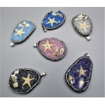Gemstone Teardrop Pendant with Rhinestone and Starfish / shells - Several stone available (1.5 x 2 inch)