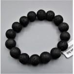 12 mm Gemstone Round Bead Bracelet - Volcanic Rock