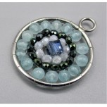 Mandala Pendant with Stainless Steel / sphere - Aquamarine  - 10 pieces Pack