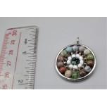 Mandala Pendant with Stainless Steel / sphere - Fancy Jasper  (Indian Jasper) - 10 pieces Pack