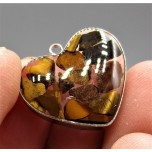"""Stainless Steel Heart Shape (15 mm or 5/8"""") Pendant with chips - Tiger Eye - 10 pieces Pack"""