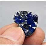 """Stainless Steel Heart Shape (15 mm or 5/8"""") Pendant with chips - Lapis - 10 pieces Pack"""
