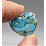 """Stainless Steel Heart Shape (15 mm or 5/8"""") Pendant with chips - Turquoise - 10 pieces Pack"""