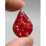 """Stainless Steel Teardrop Shape (20 mm or 0.8"""") Pendant with chips - Red Coral - 10 pieces Pack"""