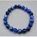 8 mm Faceted Gemstone Round Bead Bracelet - Lapis