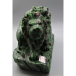 Extra Large Carving - Lion Family (8 x 4 x 5H inches) - Ruby Zoisite