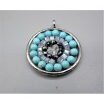 Mandala Pendant with Stainless Steel / sphere - Turquoise  - 10 pieces Pack