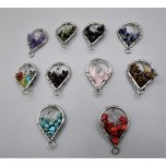 Stainless Steel Teardrop Shape Pendant - with 10 different chips - 10 pcs pack (About 1.25 x 1 W inch)