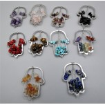 Stainless Steel Hamsa Shape Pendant - with 10 different chips - 10 pcs pack (About 2 x 1.25 W inch)