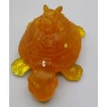 Frog on Turtle with chips inside (3 inch) - Orange color