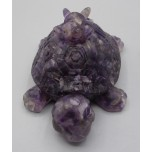 Frog on Turtle with chips inside (3 inch) - Amethyst color