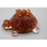 Frog on Turtle with chips inside (3 inch) - Carnelian color
