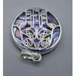 Hamsa Caged Gemstone Pendant - Abalone with gold and silver color frame