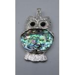Wrapped Gemstone Owl Pendant - Abalone