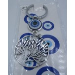 Blue Eye Key Chain - with Tree of Life Silver finish