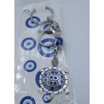 Blue Eye Key Chain - with Turtle Silver finish
