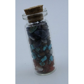 Gemstone Chips in glass Bottle (2 inch tall x 0.75 inch OD)