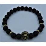 6 mm Lava Bracelet with Lion face bead