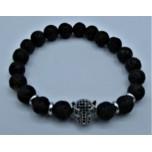 6 mm Lava Bracelet with Black Crystal Tiger face bead