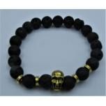 6 mm Lava Bracelet with Bronze Skull bead