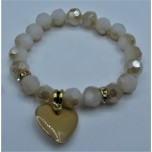 Crystal Bracelet 10 mm Faceted with Heart - Pink Color