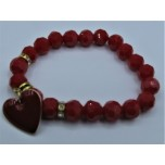 Crystal Bracelet 10 mm Faceted with Heart - Red Color