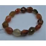 10-13 Gemstone Long Faceted Bracelet - Red Boswana Agate
