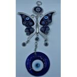 Eye Metal Pendant - Blue Eye with Butterfly (13 cm wide)