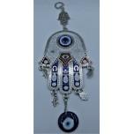 Eye Metal Pendant - Blue Eye with Hand (12 x 9 cm on Hand)