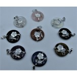 Gemstone Round Shape Pendant with flowers and Bail - Assorted Stone Available