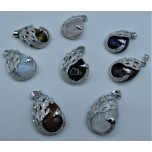 Gemstone Teardrop Pendant with Swan and Bail - Assorted stone available