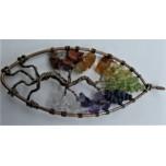 Large Teardrop shape Tree of Life Gemstone Pendant - Bronze wire and Chakra stones (9 x 3 cm)