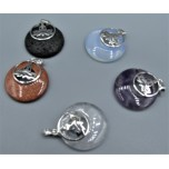 Gemstone Round Shape Pendant with Kwan Yin - Assorted stones available