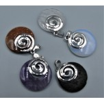 Gemstone Round Shape Pendant with Spiral Symbol - Assorted stones available