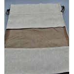 Gift Bag - Tan color Fabric with Brown Organza window - 25 x 24 cm (10 x 9 Inch) - 10 Pieces Pack