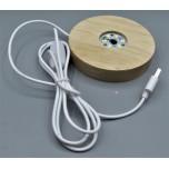 LED Display (Wood Base 10 cm) with USB Adapter - White
