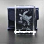 Crystal imitation Quartz Rectangle w Shark / Sea Turtle (3 x 3 x 4 cm)