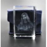 Crystal imitation Quartz Rectangle w Saint Mary (3 x 3 x 4 cm)