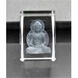 Crystal imitation Quartz Rectangle w Buddha (5 x 5 x 7.5 cm)