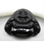 Black Glass Buddha Head Pendant (40 x 50 mm) - Style 2