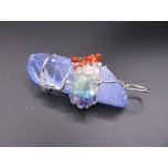 Crystal Pendant with Chips - Teal