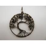 Large Bronze Round Shape Tree of Life Gemstone Pendant-  (50mm OD) assorted stones available!