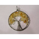 Large Silver Plated Round Shape Tree of Life Gemstone Pendant- (50mm OD) assorted stones available!