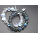 12 mm Frosty Clear and Gray AB Round Bead Bracelet  - Two Styles available!