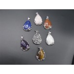 Floral Wrapped Teardrop Gemstone Pendant- assorted stones available!