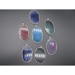 Crystal and Agate Slab Pendant with Bail - 7 Colors Available